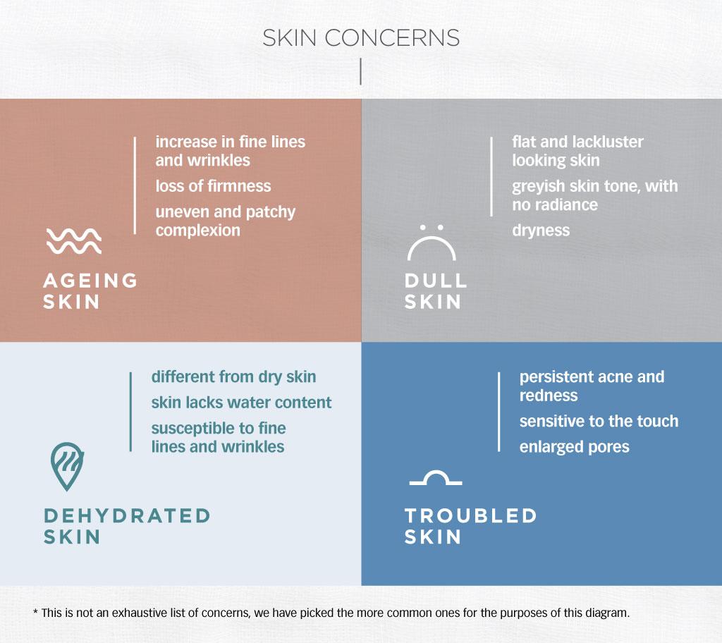skin concern, ageing skin, dull skin, acne, troubled skin